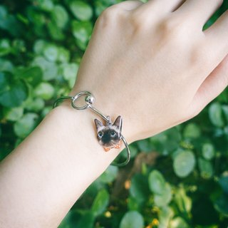 Customized pet cat dog portrait stainless steel bracelet