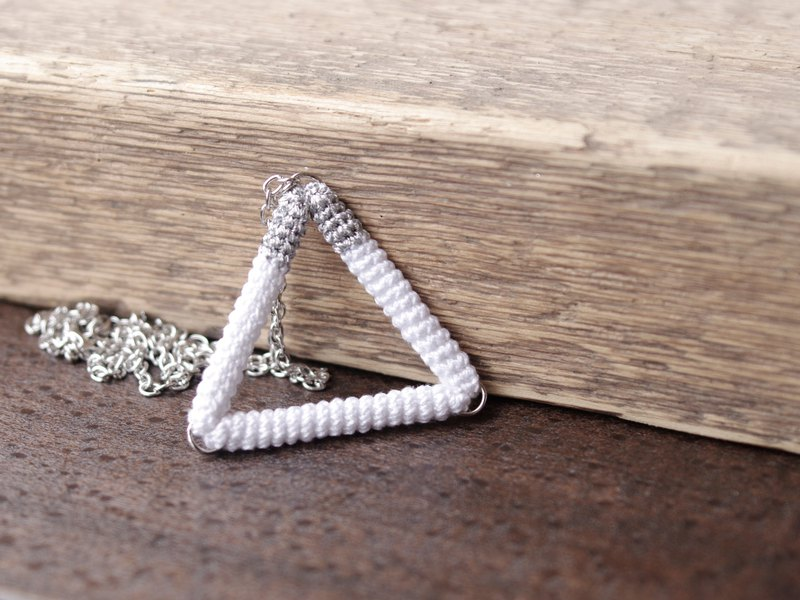 White Silver Triangle Pendant Crochet Necklace
