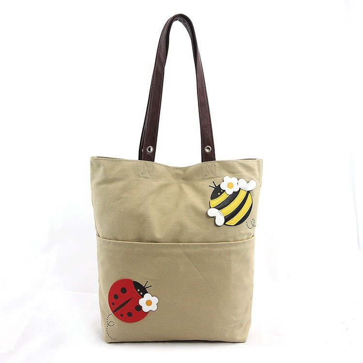 Sleepyville Critters - Honey Bee and Lady Bug Tote Bag in Canvas Material