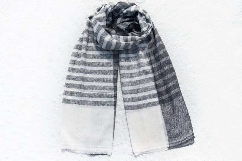 Cashmere Cashmere / Knitted Scarf / Pure Wool Scarf / Wool Shaw - Japanese Striped Hill