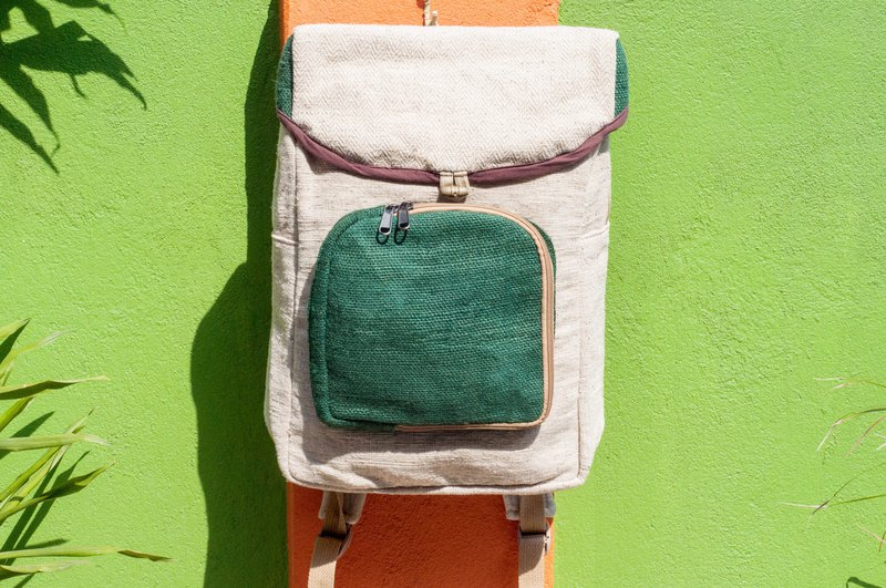 Cotton and linen stitching design backpack / shoulder bag / ethnic mountaineering bag / computer backpack - green forest geometry