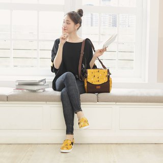 Arc bag cover dual-use square bag (walking in the first line) mustard yellow