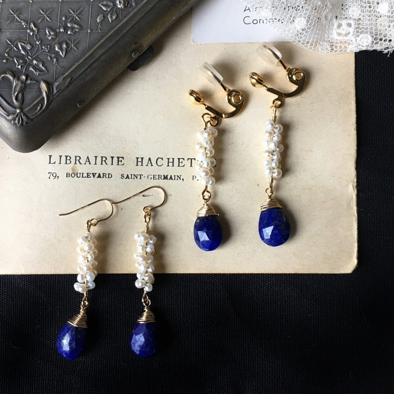 14kgf Lapis lazuli drops x vintage pearl and freshwater poppy pearl earrings OR brass pain-resistant ear clip