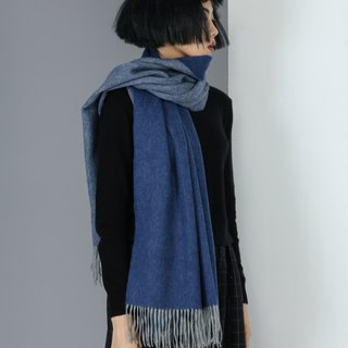 Plain double-sided pure wool scarf shawl - grey+denim blue