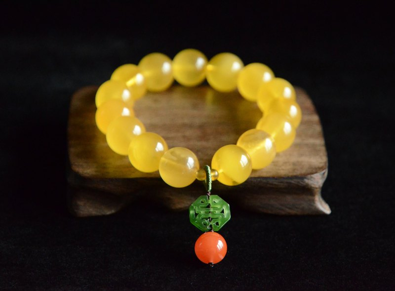 [Double Happiness] Amber Natural Organic Gemstone Amber Classic Bracelet Bracelet