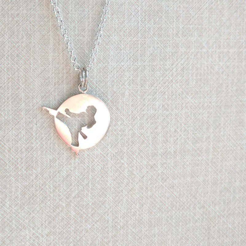 Taekwondo boy personality sterling silver necklace