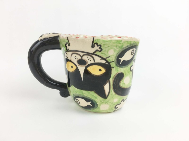 Nice Little Clay handmade mug_upside down cat 0103-10