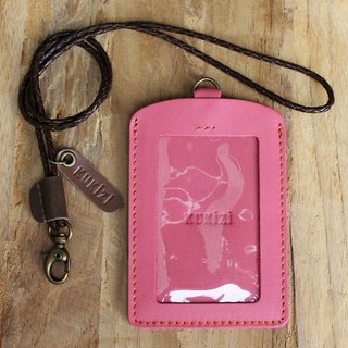 ID case/ Pass case/ Card case - ID 2 - Pink+Brown Lanyard (Genuine Cow Leather)