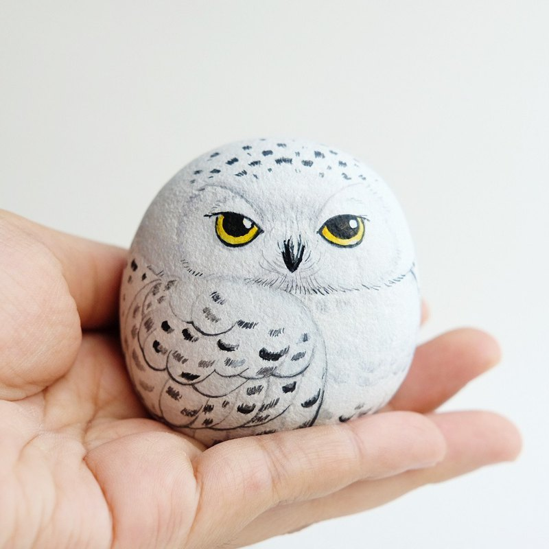 Snow Owls doll stone painting,unique gift handmade.