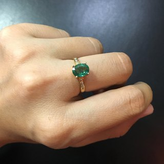 Emerald with Diamond Gold Ring Handmade in Nepal 18k