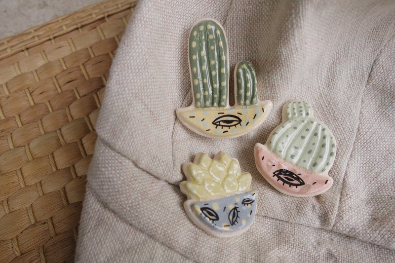 Ceramic cactus set,brooch :)