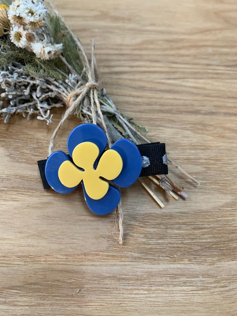 Love four-leaf clover hairpin / blue