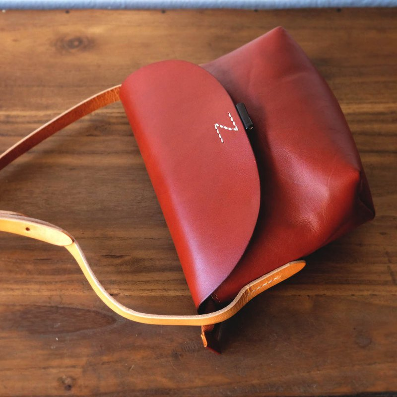 Small Cross-body Leather Bag in Red Brown / Shoulder Messenger Bag