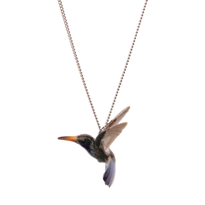"And Mary Blue Hummingbird Necklace | 24""/28"" 