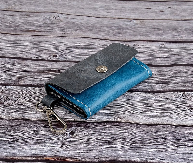 U6.JP6 Handmade Leather Goods-Hand-stitched two-color multi-purpose bag / simple wallet / headphone storage bag