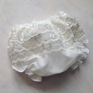 Baby Girls Ivory & Silver Christening Bloomers