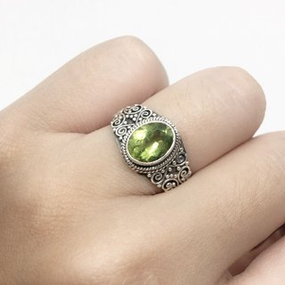 Peridot 925 sterling silver heavy carved ring Nepal handmade mosaic production