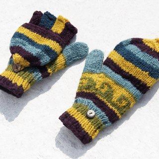 Christmas gift ideas gift exchange gift limited a hand-woven pure wool knit gloves / detachable gloves / bristle gloves / warm gloves (made in nepal) - Universe flu blue-green ocean Eastern European wave totem