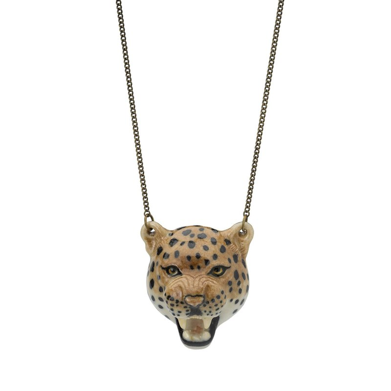AndMary 手繪瓷項鍊-豹 禮盒包裝Roaring Leopard Necklace