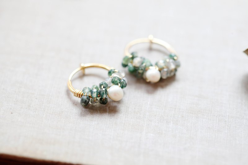 HappyCircle│Water Grass Stone Pearl Green White Can Change Clip-on Birthday Gift Petty