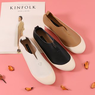 Super soft leather instep open back shell shoes casual shoes milk tea color black white