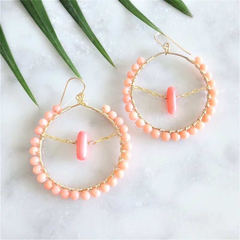 coral pink * wrapped hoop pierce