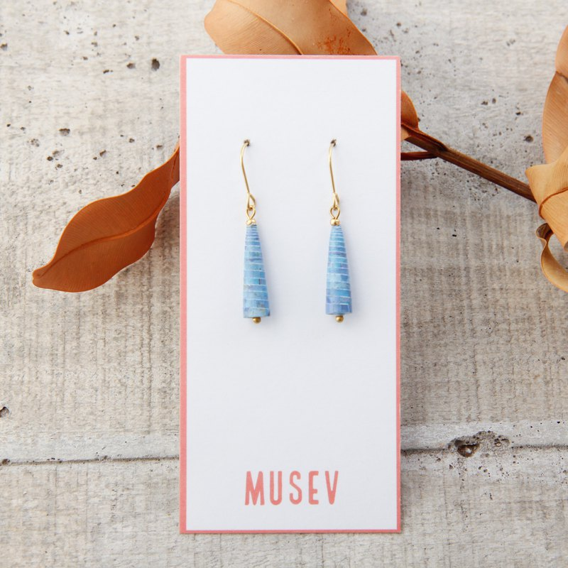 MUSEV light blue pattern small awl earrings