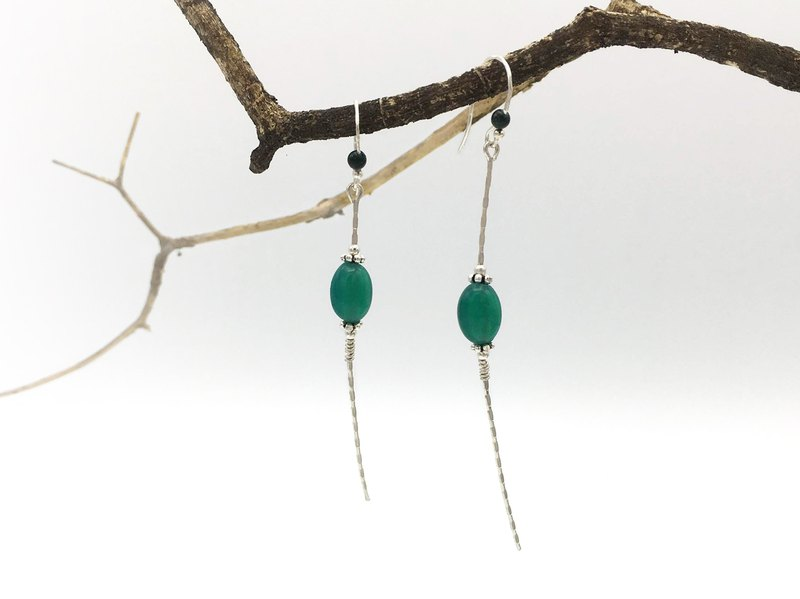 Long dangle earrings, sterling silver, green agate, earrings for women