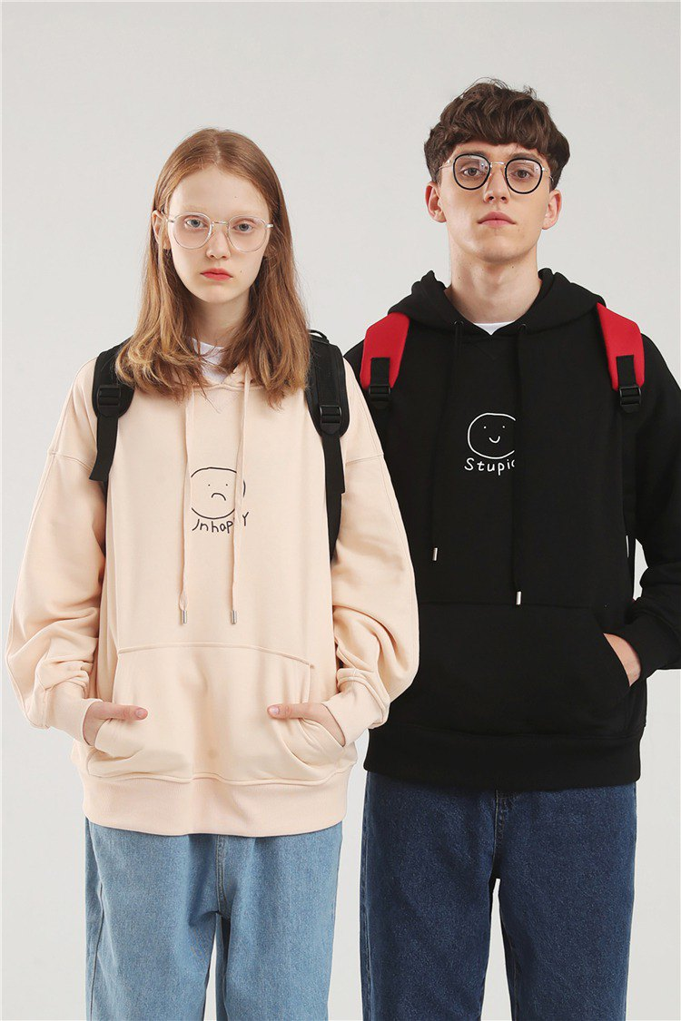 PROD interesting couples autumn clothing niche design loose sweater women's hooded early autumn BF wind thin section shirt