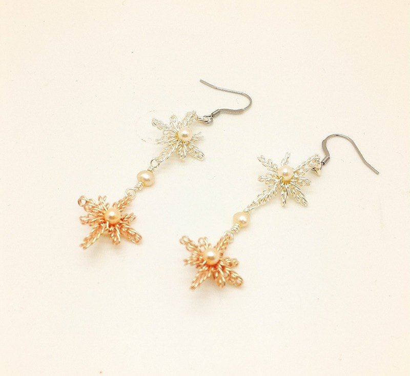 【JTBREW】Wire Weaving Double Star of Bethlehem Pearl Earrings