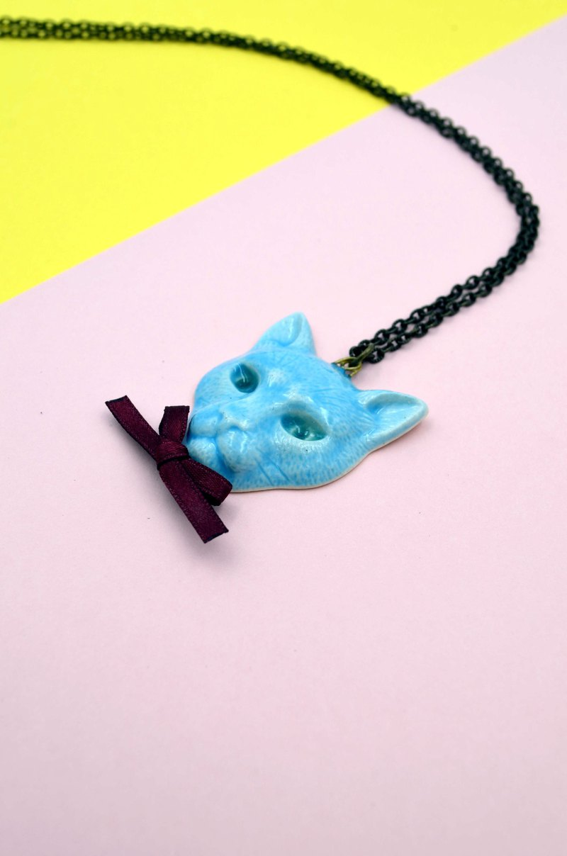 Japanese blue ceramic cat necklace