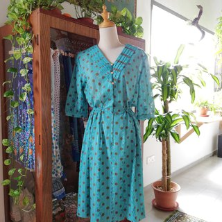 Brown Pokka Dot In Teal Lace Fabric Dress