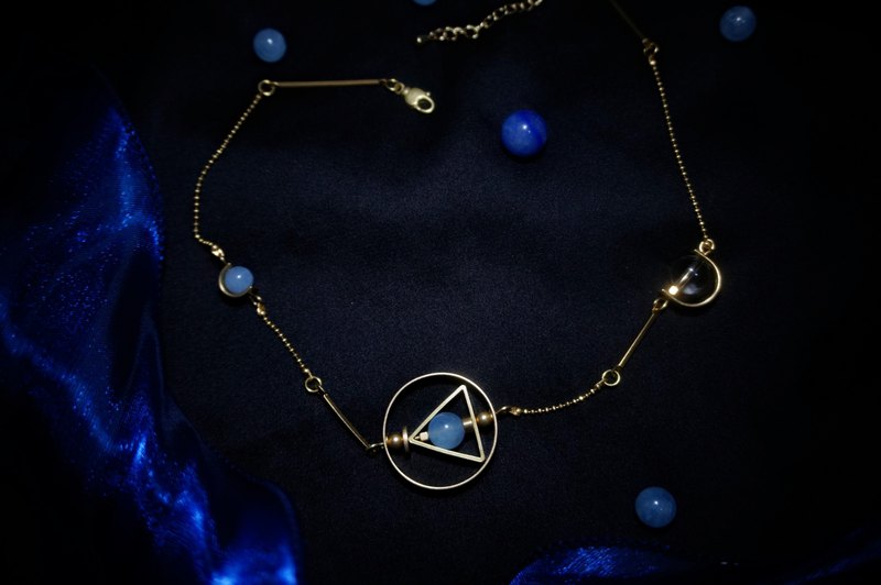 Starlight Night Series Original Design Retro Geometric Crystal Clavicle Chain Necklace Christmas Gift