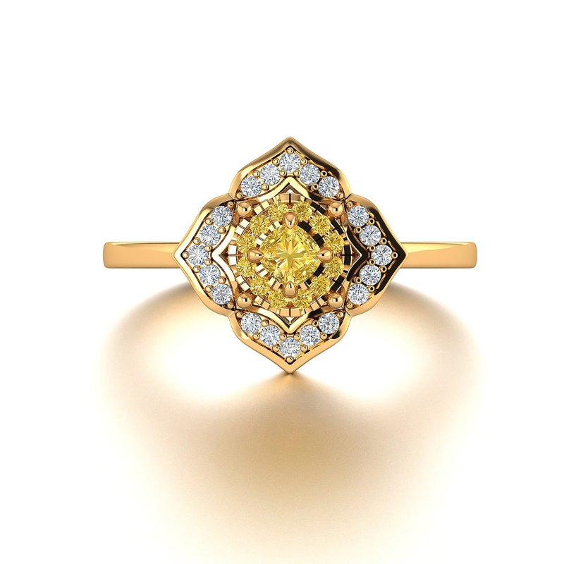 【PurpleMay Jewellery】 18k Solid Gold Halo Yellow Diamond Engagement Ring - R062