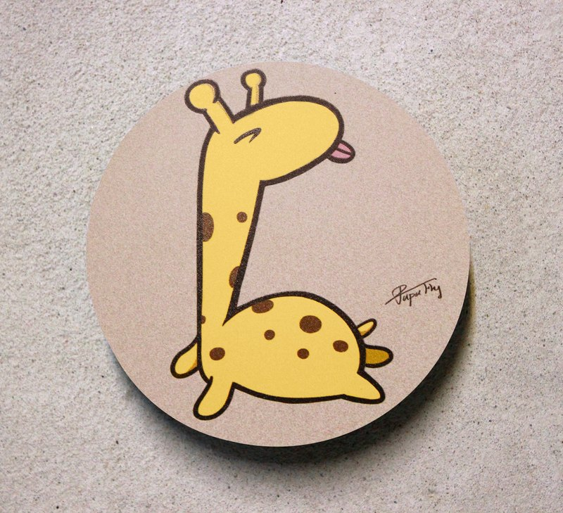 """Giraffe tongue"" / original illustrations - absorbent ceramic coasters / Flies Planet / Hands Bazaar /"