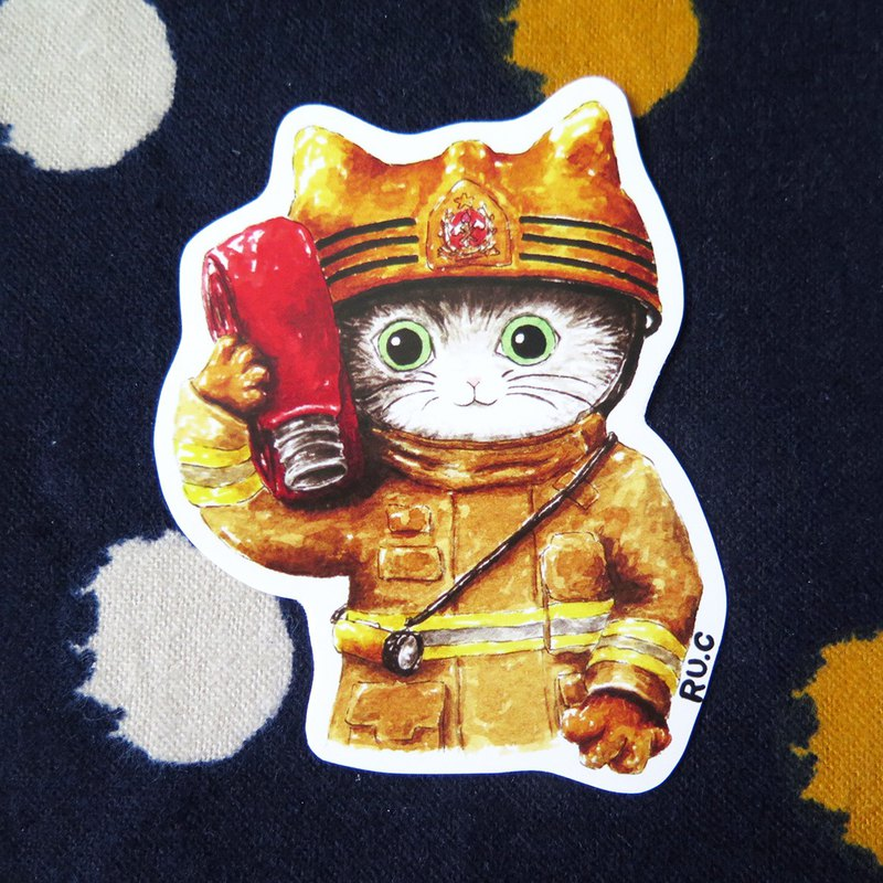 My volunteer: cat fireman sticker