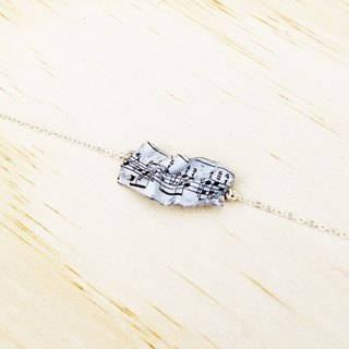 Wrinkled Music Sheet Sterling Silver Bracelet