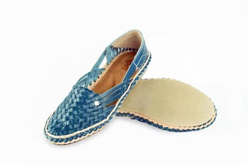 Hola Blue Handmade Leather Women Shoes
