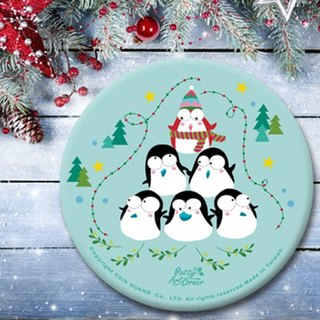 Painted Absorbent Ceramic Coasters – Christmas penguin