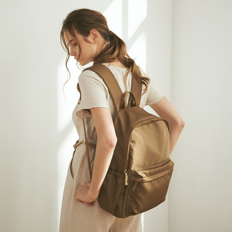 Amina Waterproof Nylon Backpack + Mother Bag Inside Bag [Gold Copper Brown]