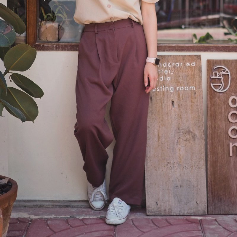 Basic Loose Vintage Pants : Maroon