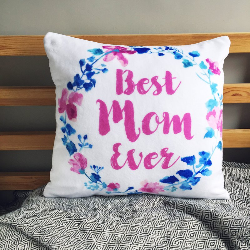 The best mom watercolor flowers hug pillowcase mother birthday gift - with pillow
