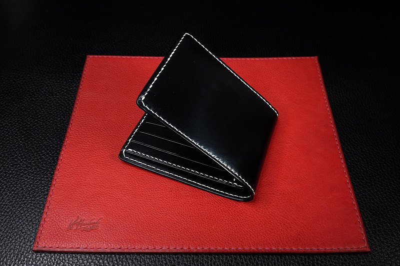 KH- Top UK Saddle Leather x Buttreo Short Black Clip (Italian Vegetable Leather Association Wallet)
