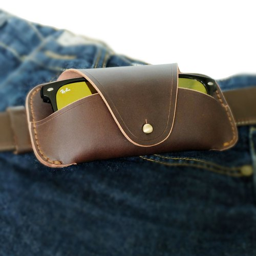Rusty-Brown Glasses Case Vegetable Tanned Leather Handmade Protect your glasses