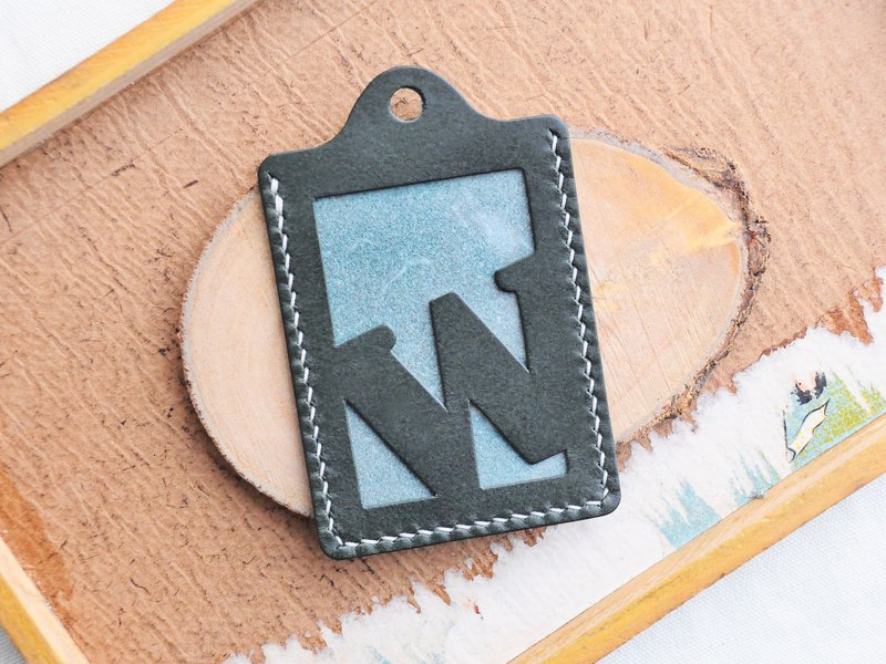 Initial text W letter certificate set well stitched leather material package card holder business card holder free engraving