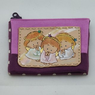 Multilayer leather wine bag fabric purse ☆ Angels 5
