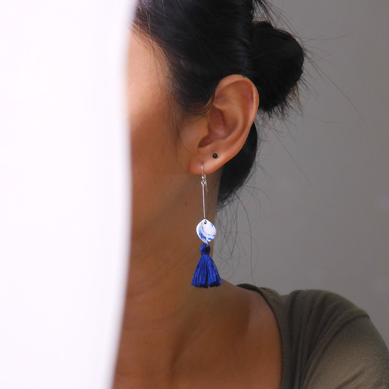 Stone Tassel White Porcelain Earrings-Vanessa Blue