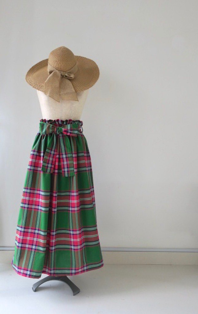 Long Skirt with Sash Ribbon Green Indonesian Fabric