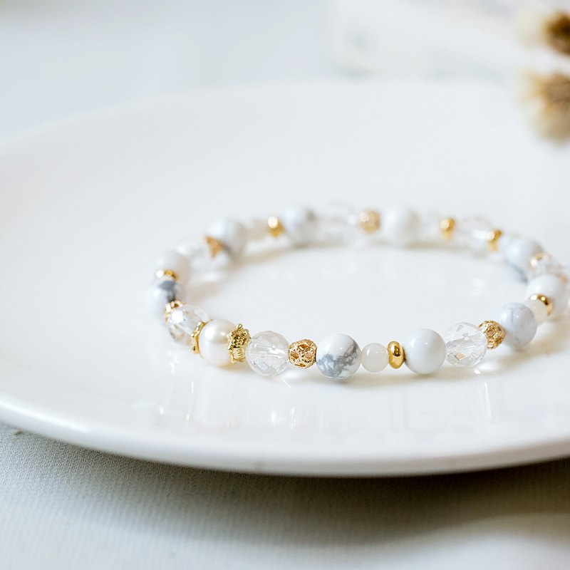 Powder crystal white crystal pearl bracelet wedding series white wedding dress