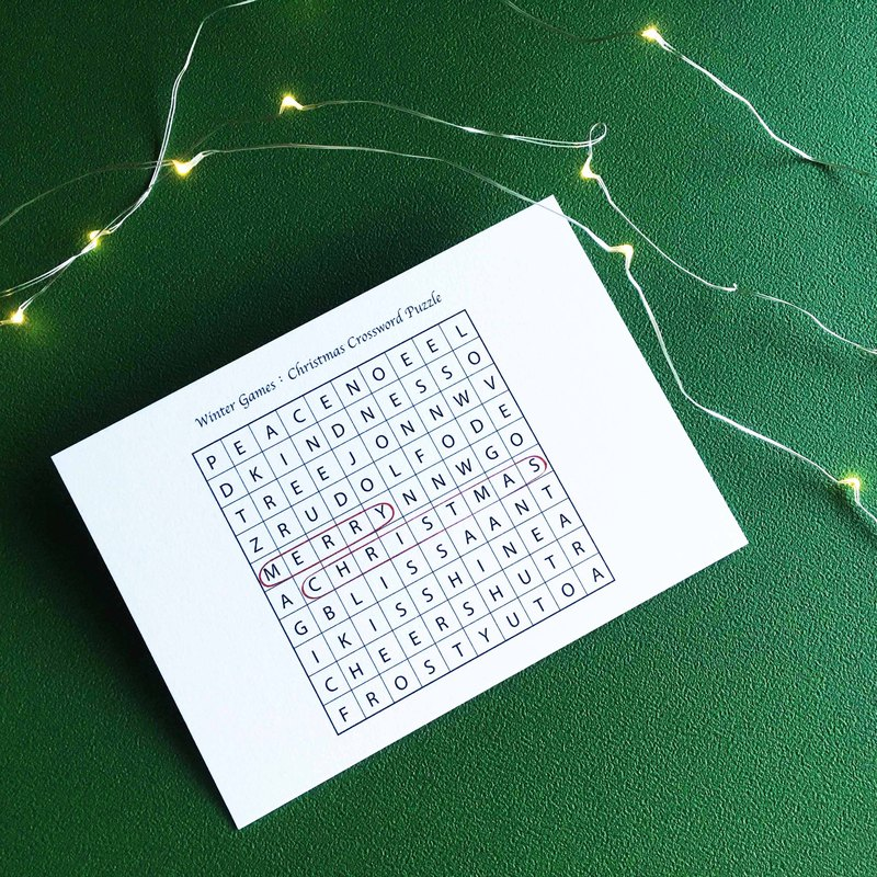 Christmas Postcard / Winter Games / Christmas Crossword Puzzle